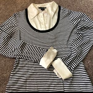 Black/white stripped-w/removal dickie/cuffs